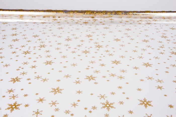 6049595 Пленка цветная Снежинки NEW 70см*7,8м золото