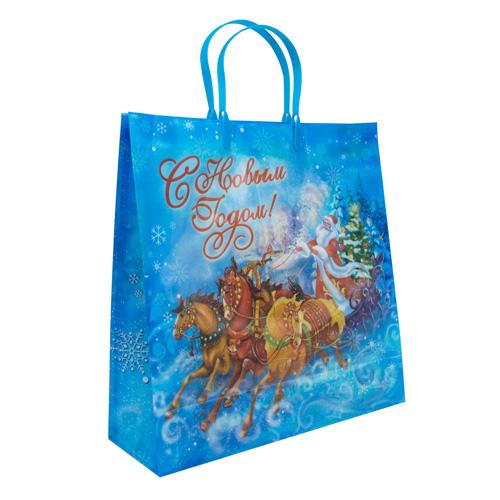 1043748 Пакет подарочный пластик «Новогодняя тройка», 30*30 см