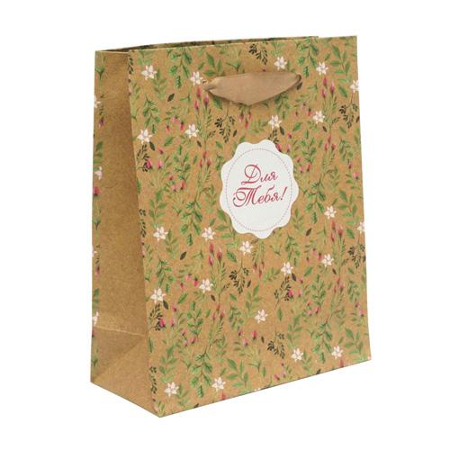 1499522 Пакет крафтовый вертикальный «Цветочный», S 11*14*5,5 см