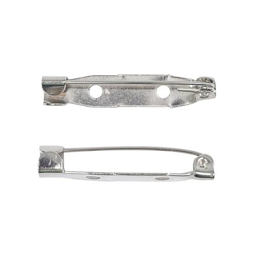 1375817 Основа для броши, 30мм, 10шт, 2 отверстия, цвет серебряный
