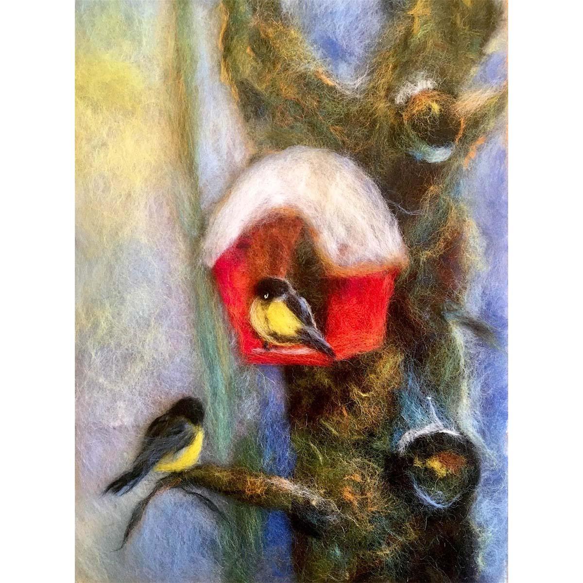 Набор для валяния (живопись цветной шерстью) 'На зимовке' 21x29,7см (А4)