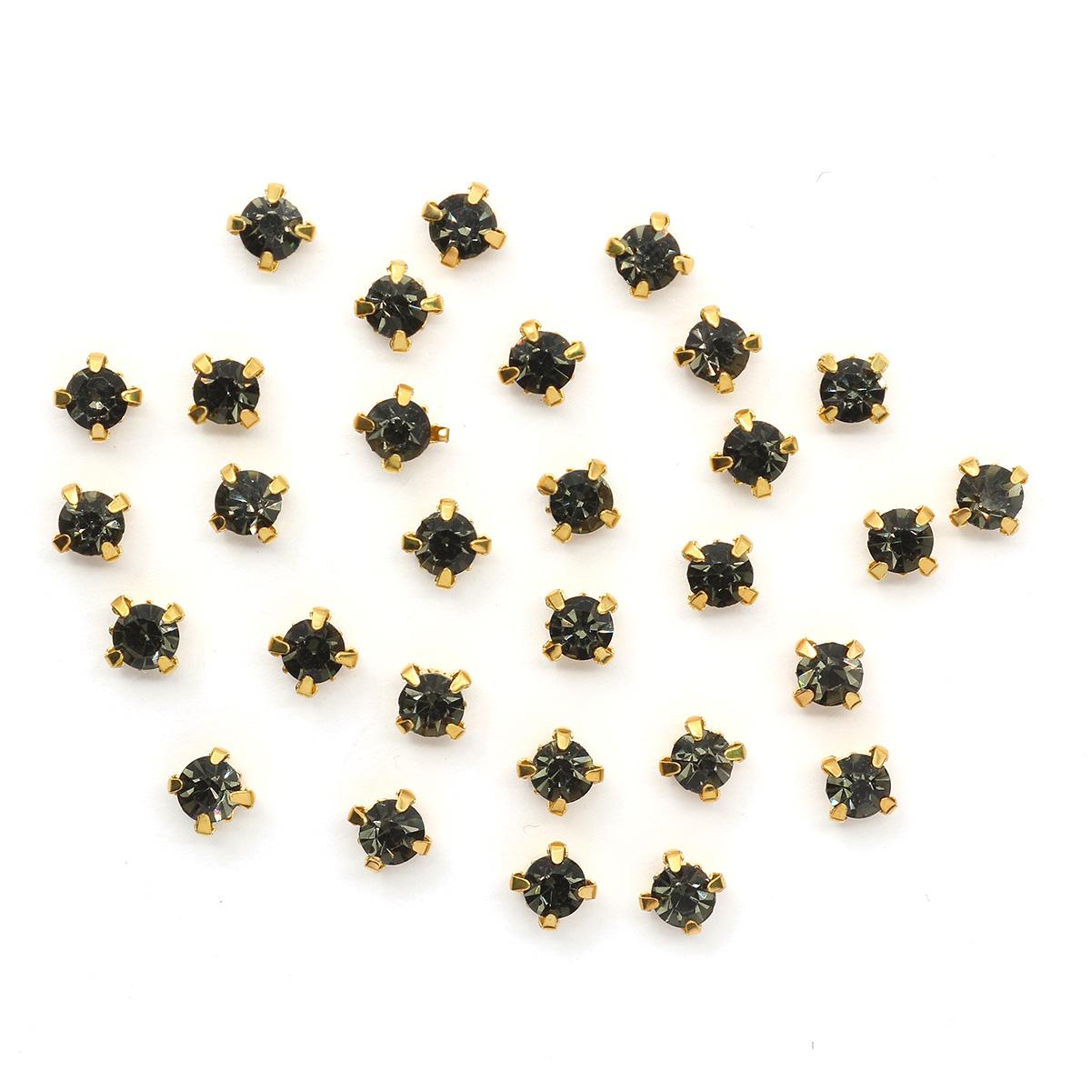 ЗЦ002НН44 Хрустальные стразы в металлических цапах (Золото) Сталь 4х4 мм 29-30 шт/упак.