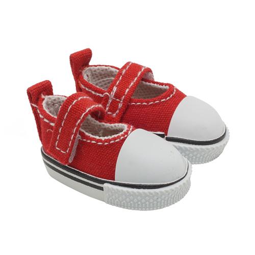 25251 Кеды-туфли на 1-й липучке 5,0 для кукол, выс.2,8см., пара, цв.красн.