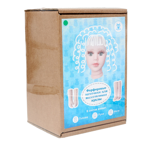 27023 НАБОР №1 Фарфоровая заготовка для изготовления куклы: руки,ноги,голова гл.-зелёные