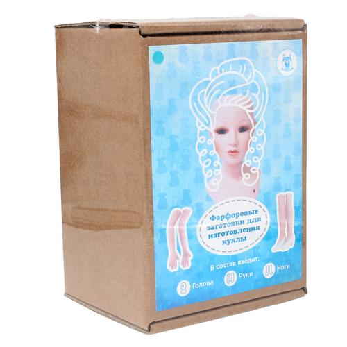 27025 НАБОР №2 'Дама' Фарфоровая заготовка для изготовления куклы: руки,ноги,голова гл.-голуб.