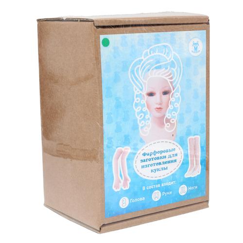 27024 НАБОР №2 'Дама' Фарфоровая заготовка для изготовления куклы: руки,ноги,голова гл.-зелёные