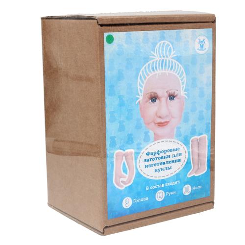 27031 НАБОР №4 'Бабушка' Фарфоровая заготовка для изготовления куклы: руки,ноги,голова гл.-зелён.