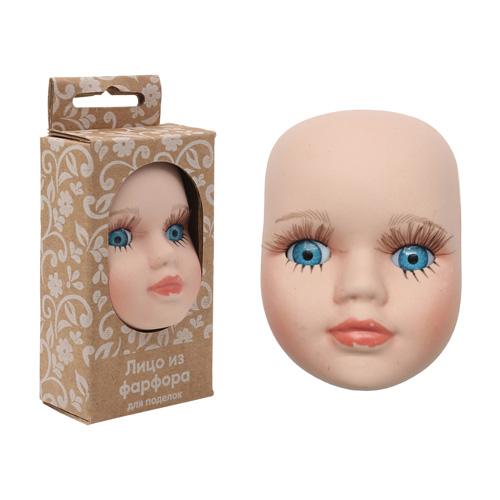 27042 Фарфоровая заготовка 'Лицо для куклы' 4,8см*6,5см*2,2см гл.-голуб.