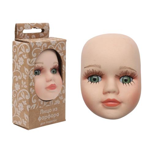 27041 Фарфоровая заготовка 'Лицо для куклы' 4,8см*6,5см*2,2см гл.-зелён.
