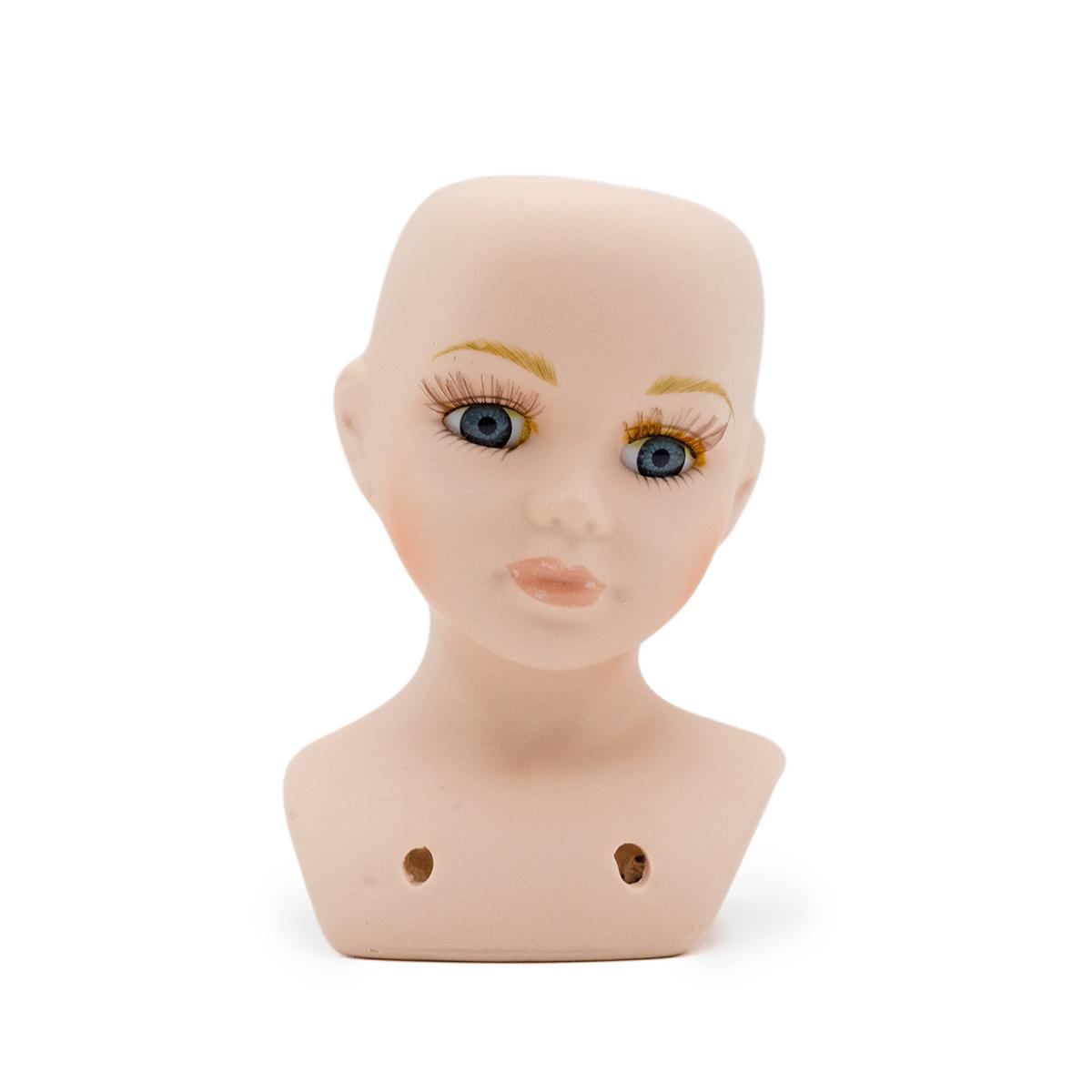 23727 Фарфоровая заготовка №1 'Голова для куклы' : 6см*10,5см гл.-серые