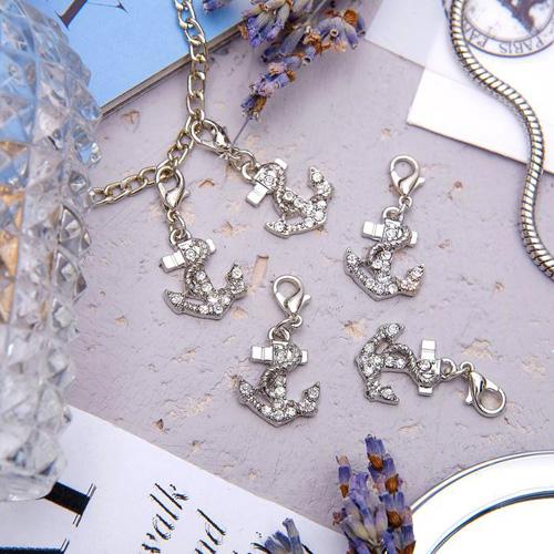 1353774 Шармик 'Якорь', цвет белый в серебре упак/5шт