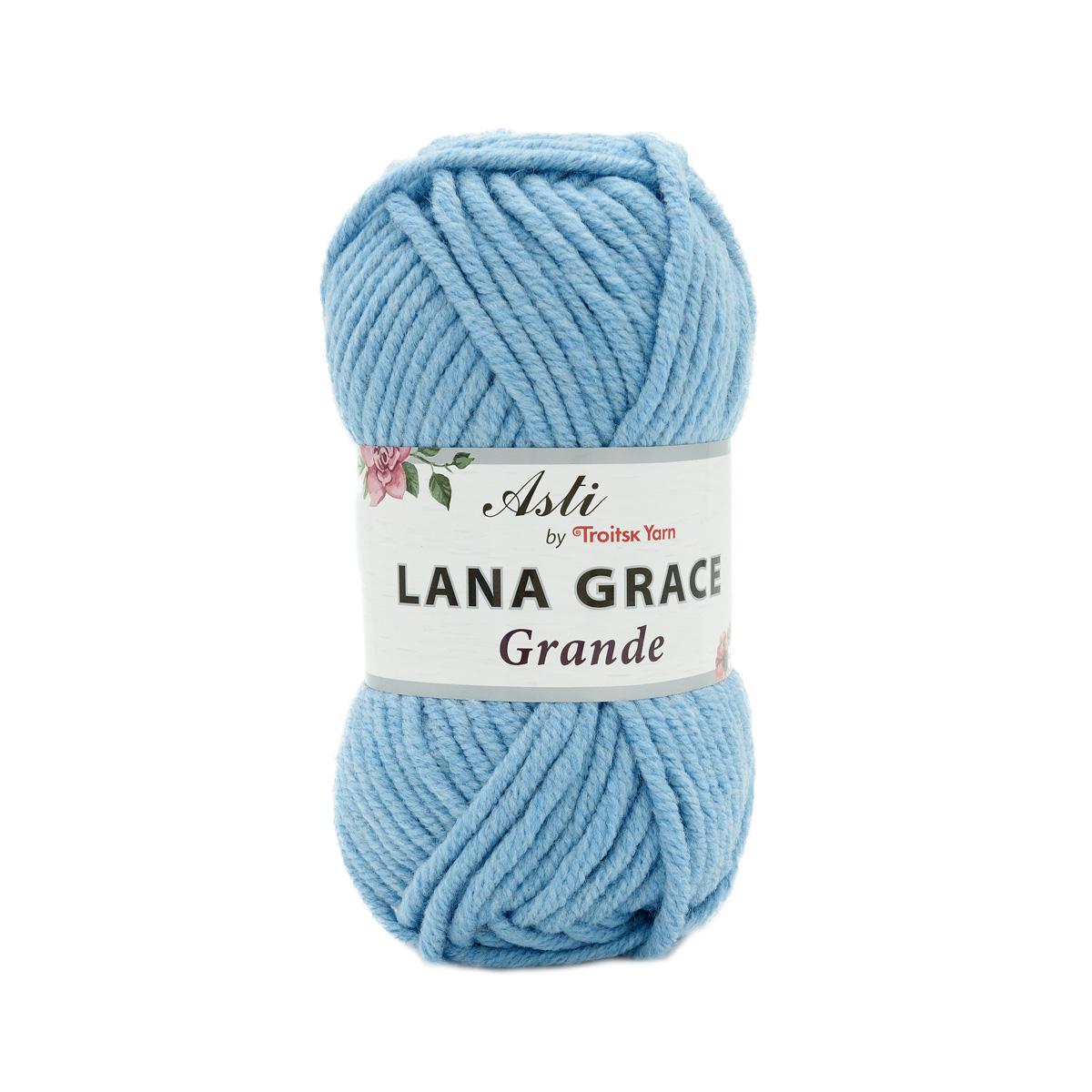 Пряжа из Троицка 'Lana Grace Grande' 100гр. 65м. (25% мериносовая шерсть, 75% акрил супер софт ) (2820 воздушно-голубой)