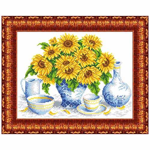 КК 0042 Канва с рисунком Каролинка 'Подсолнухи в вазе' 23*30см
