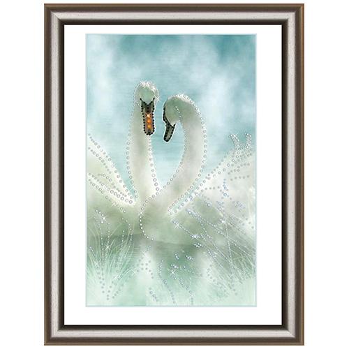 КС1039 Набор для изготовления картины со стразами Crystal Art Белые лебеди