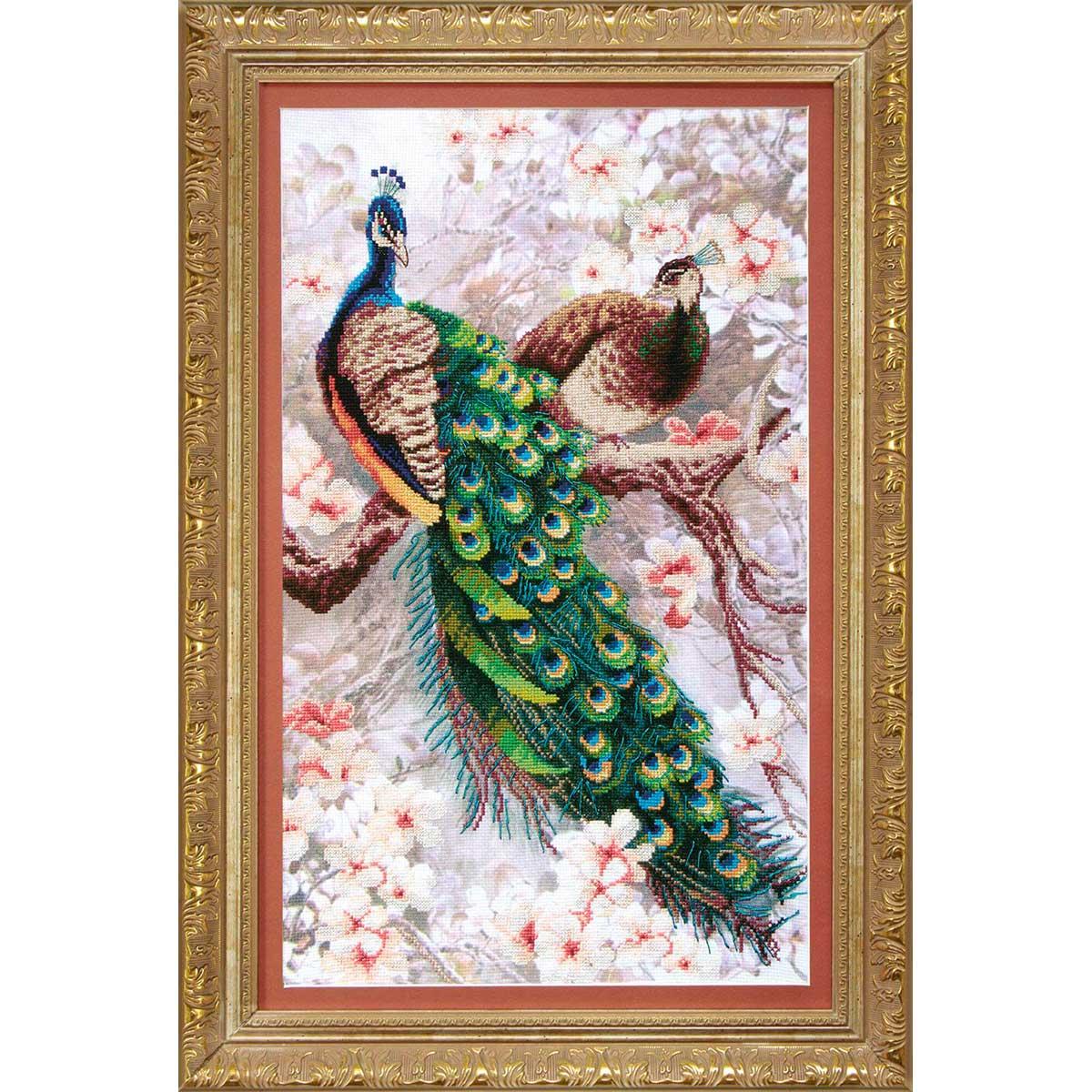 ВТ-519 Набор для вышивания Crystal Art 'Два павлина в цветущей магнолии' 26*44см