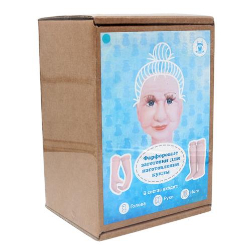 27032 НАБОР №4 'Бабушка' Фарфоровая заготовка для изготовления куклы: руки,ноги,голова (гл.-голуб.)