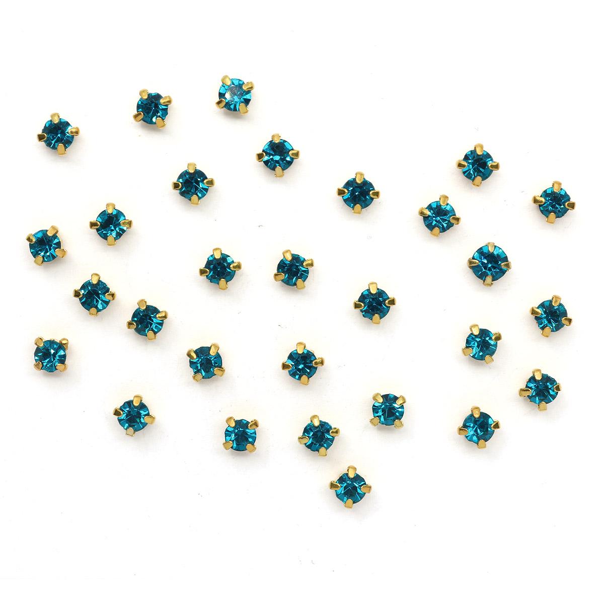 ЗЦ005НН44 Хрустальные стразы в цапах круглые (золото) лазурный 4*4мм,29-30шт/упак Астра