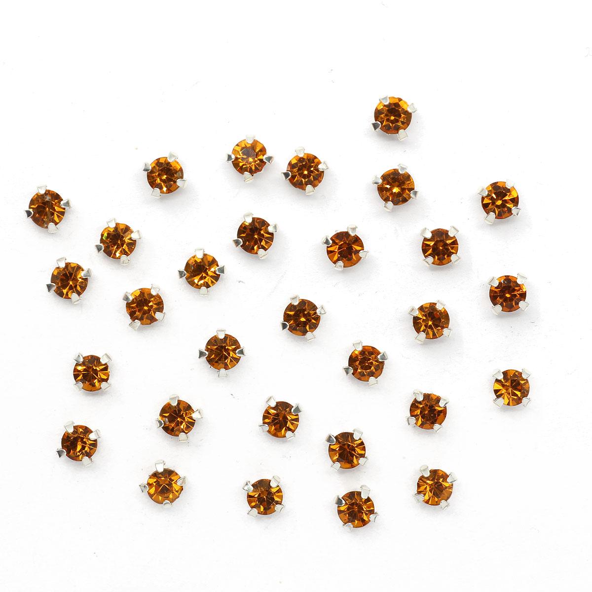 СЦ013НН44 Хрустальные стразы в цапах круглые (серебро) медовый 4*4мм, 29-30шт/упак Астра