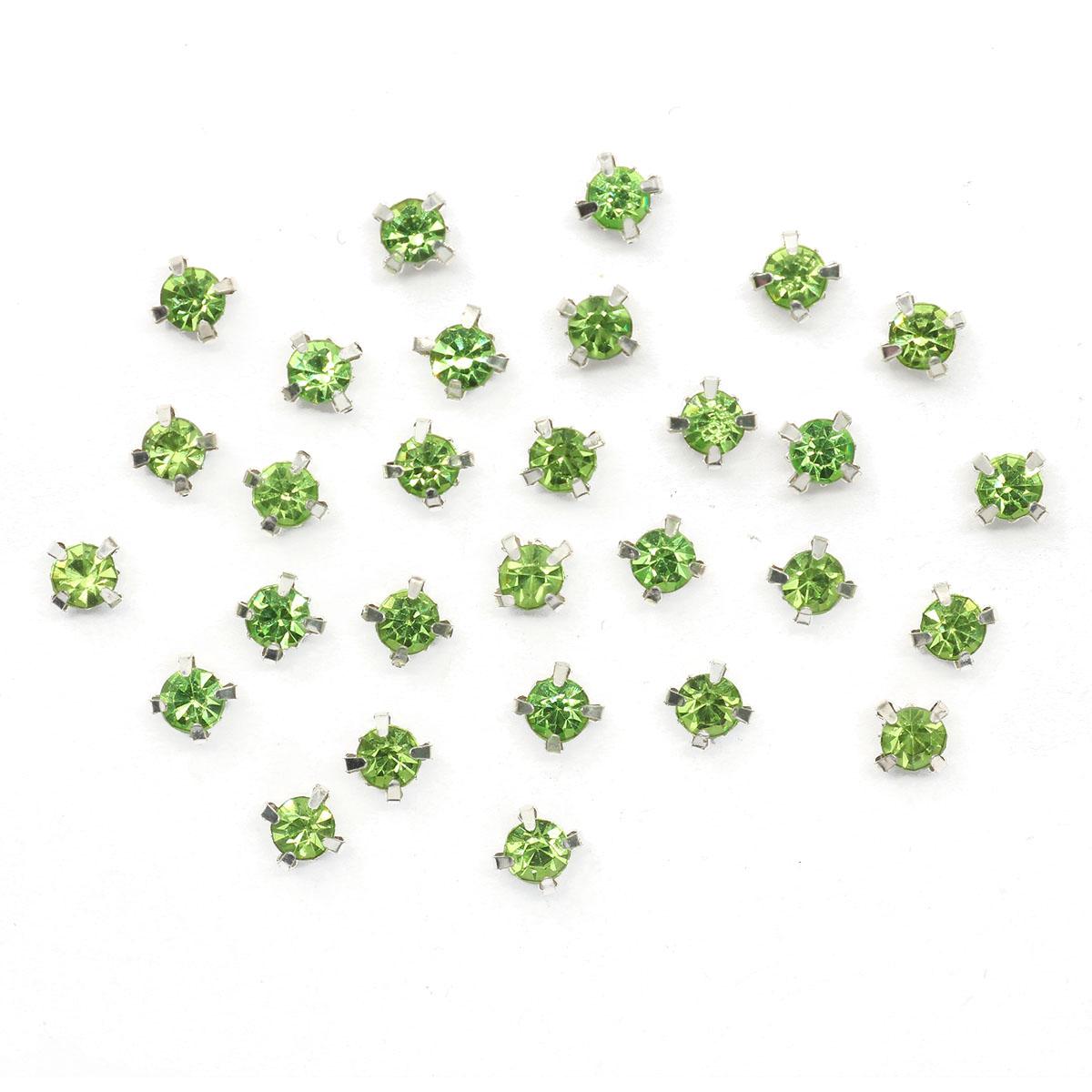 СЦ015НН44 Хрустальные стразы в цапах круглые (серебро) зеленый 4*4мм, 29-30шт/упак Астра