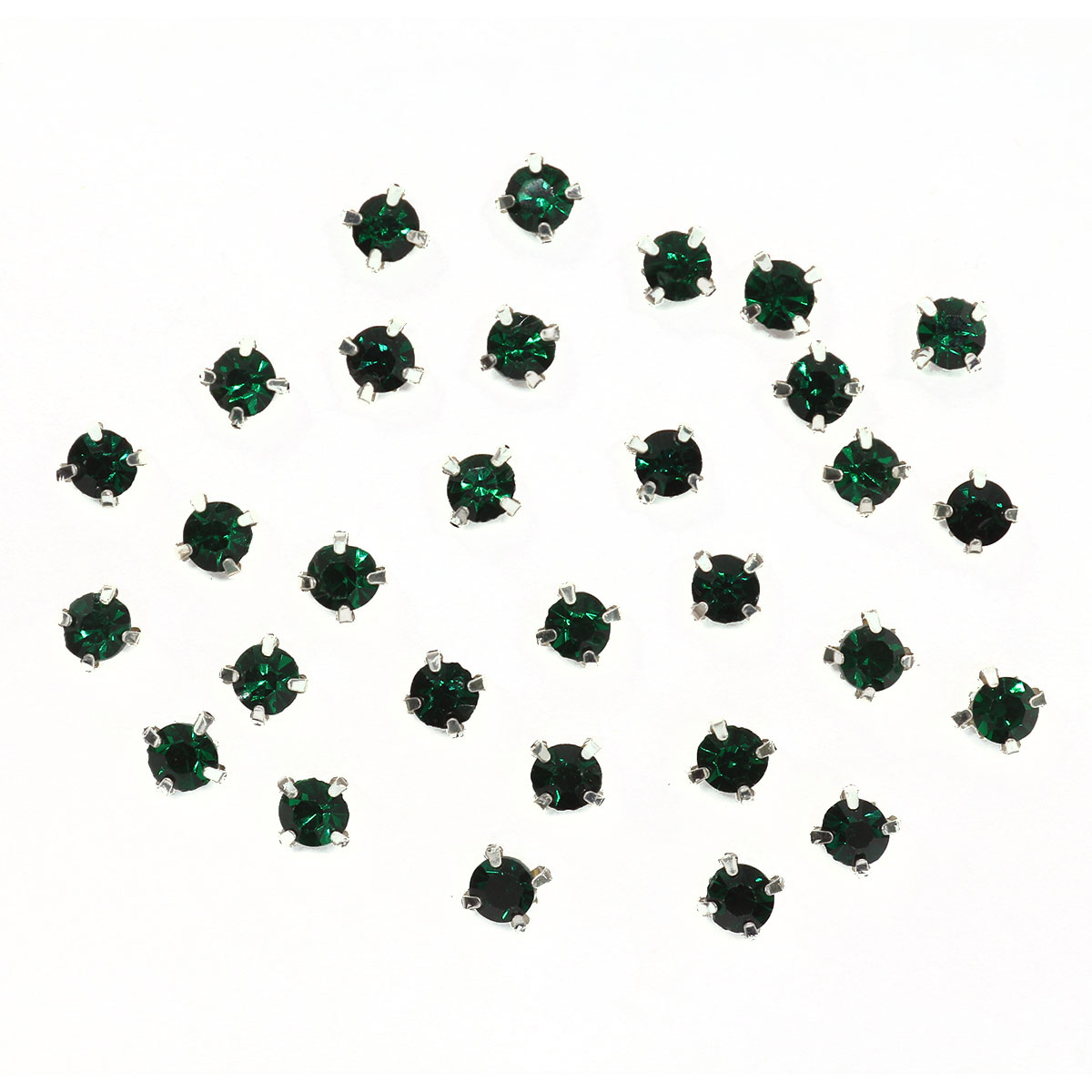 СЦ016НН44 Хрустальные стразы в цапах круглые (серебро) изумруд 4*4мм, 29-30шт/упак Астра