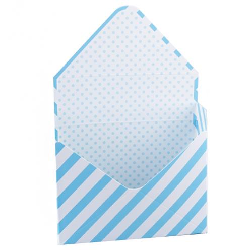 70492 Коробка для цветов Конверт 23,5*8*16,5см голубая полоса