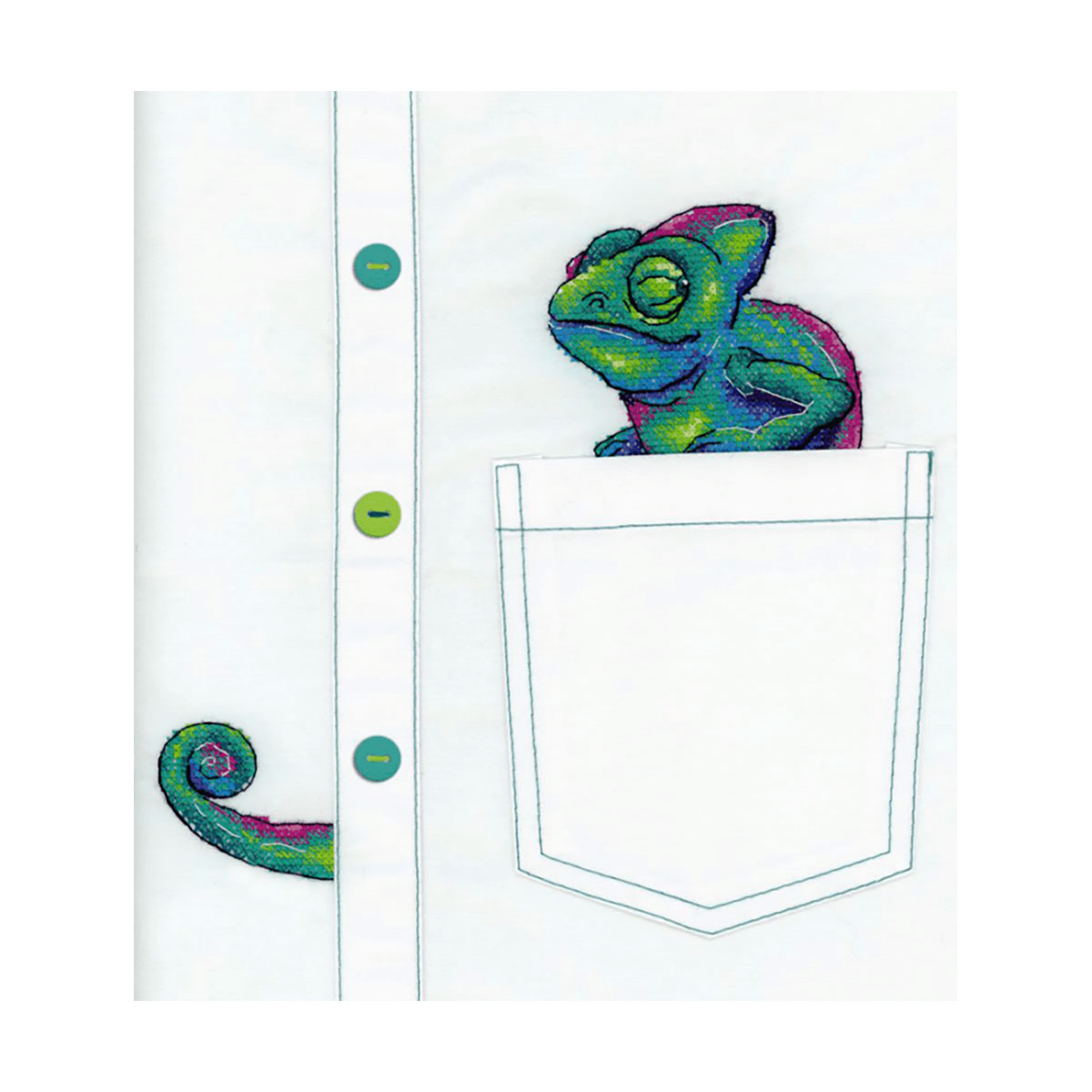 В-253 Набор для вышивания крестом на одежде МП Студия 'Любопытный хамелеон' 7*8см