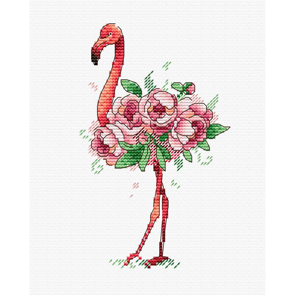 В-254 Набор для вышивания крестом на одежде МП Студия 'Фламинго' 15*9см