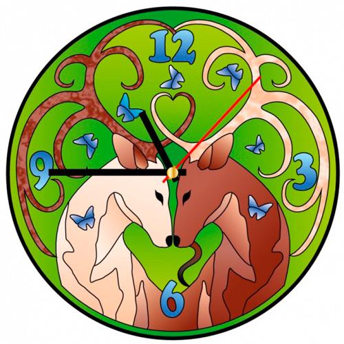 HV003 Витражные часы Колор Кит 'Золотые олени ' диаметр 30см