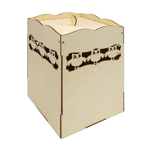 L-1151 Деревянная заготовка коробка под специи большая 'Совушки' 17*17*25см Астра