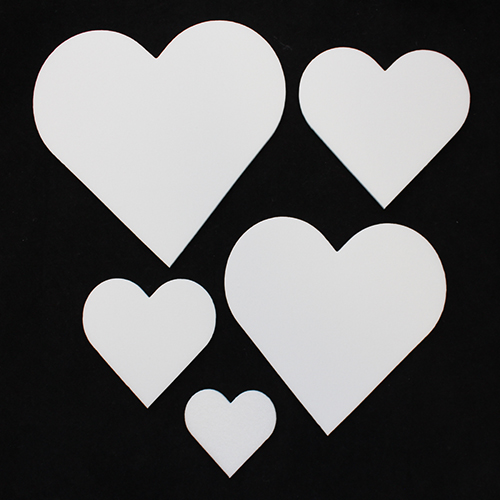Набор фигурок из пенопласта 'Сердца' разного размера (5шт)