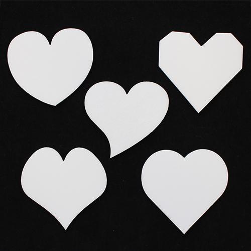 Набор фигурок из пенопласта 'Сердца' разной формы(5шт)
