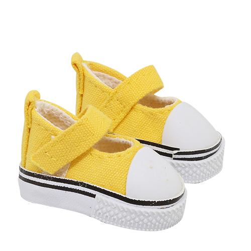 25255 Кеды-туфли для кукол на лип., размер по подошве 5см*выс.2,8см, пара, цв.жёлтый