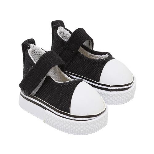 25254 Кеды-туфли для кукол на лип., размер по подошве 5см*выс.2,8см, пара, цв. чёрный