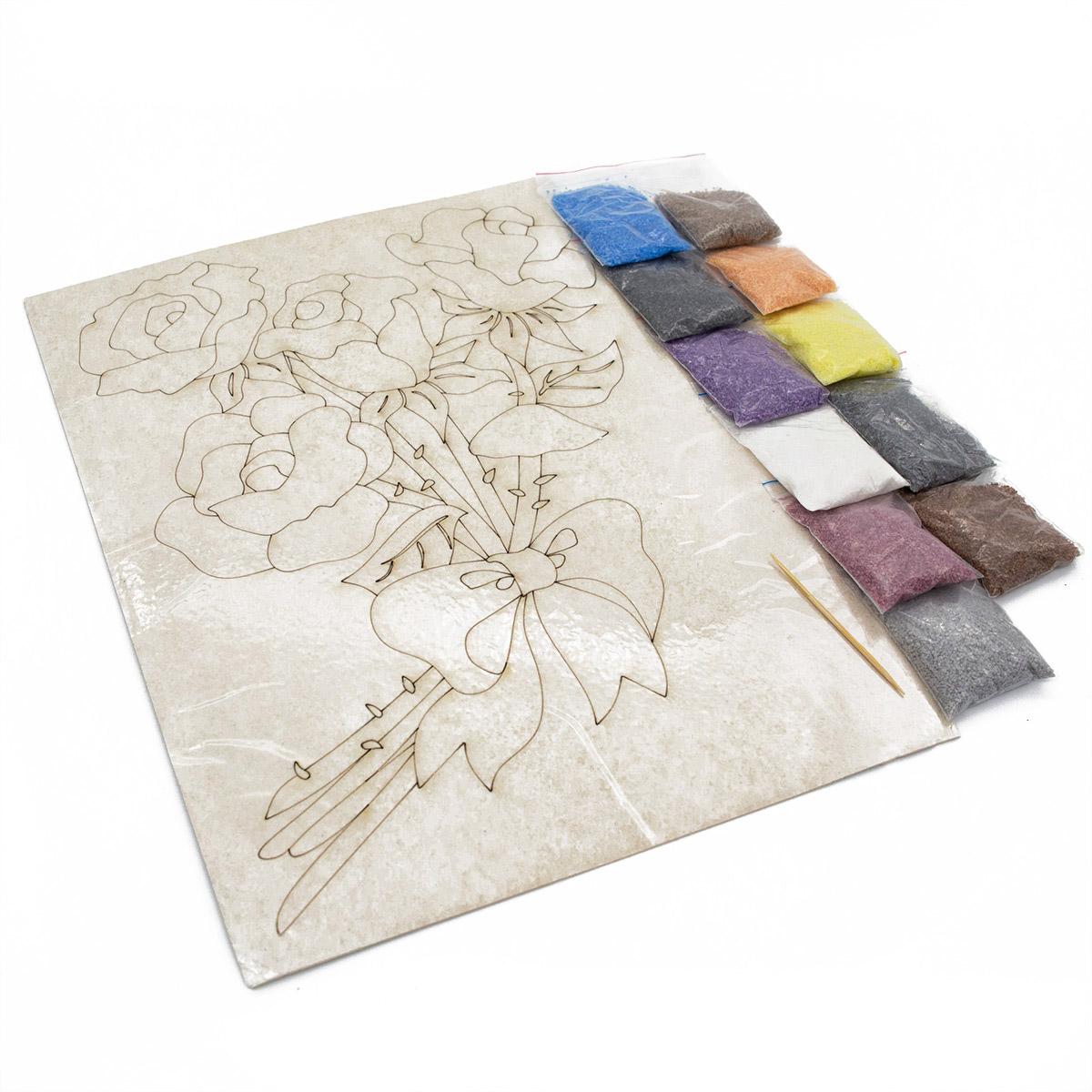 п0000195т Набор для рисования песком с трафаретом 'Розы' 21*30см