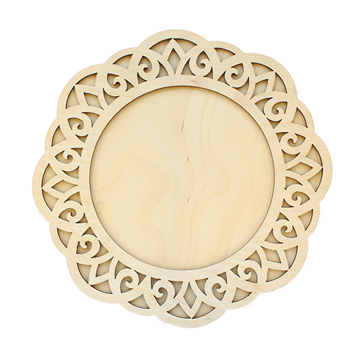 L-890 Деревянная заготовка рамка круглая под зеркальце 19,5*19,5 см 'Астра'