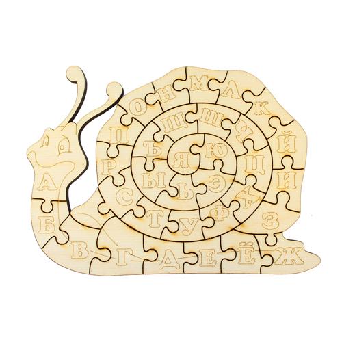 L-876 Деревянная заготовка пазл 'Улитка-алфавит' 16,5*12 см 'Астра'