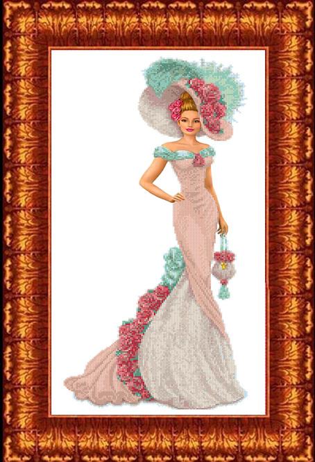 КБЛ - 2006 Канва с рисунком для бисера 'Дама с сумочкой' А2