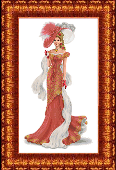 КБЛ-2005 Канва с рисунком для бисера 'Дама с шарфом' А2