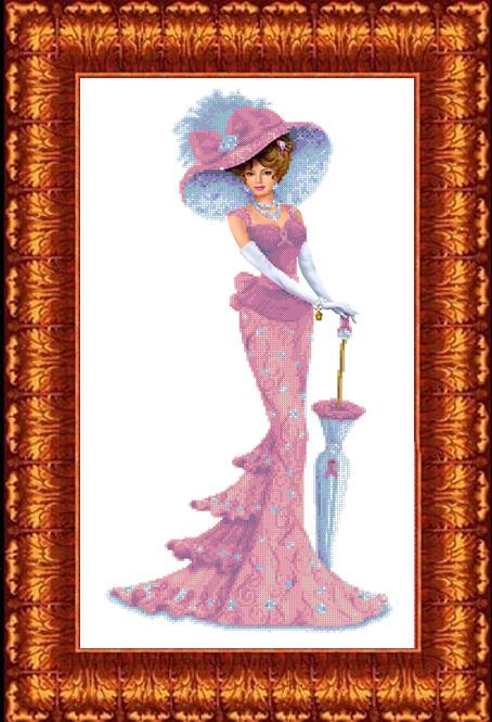 КБЛ - 2004 Канва с рисунком для бисера 'Дама с зонтиком' А2