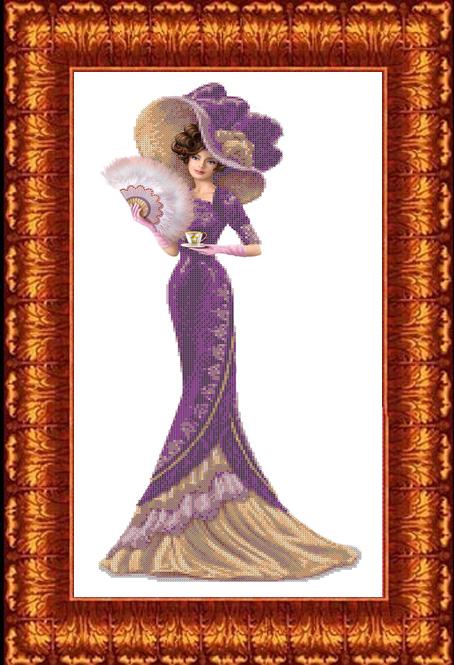 КБЛ-2003 Канва с рисунком для бисера 'Дама с кофе' А2