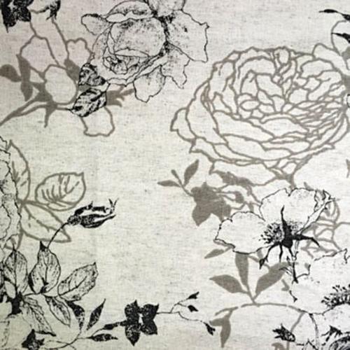 HY002012 Ткань для рукоделия Розы черно-серый полулен, 50*50см