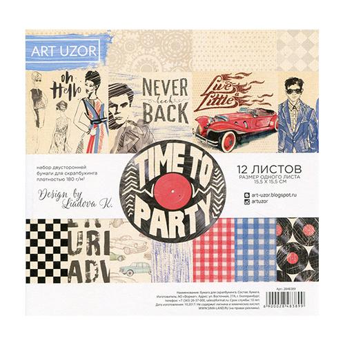 2848389 Набор бумаги для скрапбукинга 'Time to party' 15.5*15.5, 12 листов