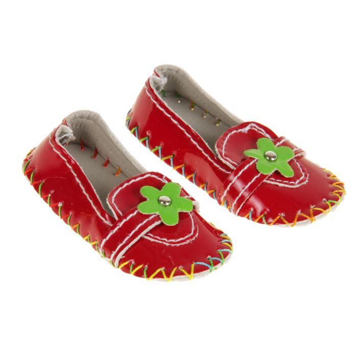 2331167 Мокасины для для куклы 'Цветочек' длина стопы 7,5 см, 1 пара, цвет красный