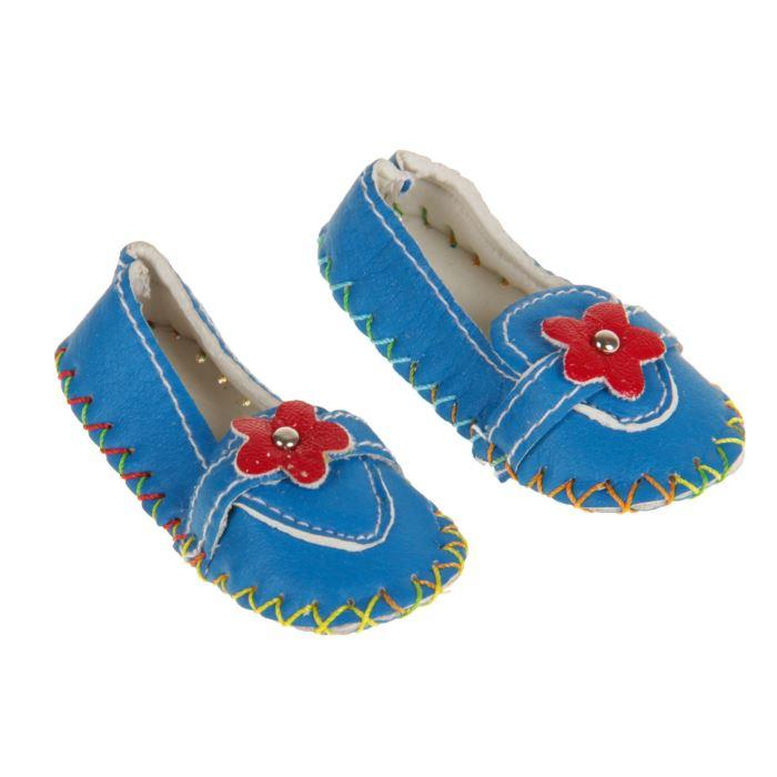 2331169 Мокасины для для куклы 'Цветочек' длина стопы 7,5 см, 1 пара, цвет голубой
