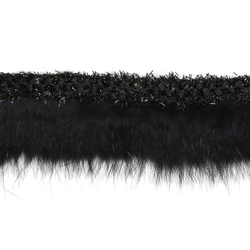 Г14311 Тесьма с мехом 35мм*22,86м, черная