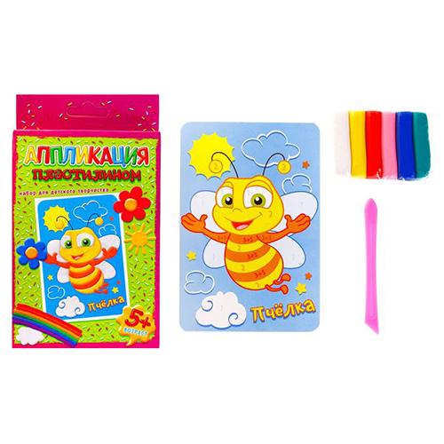 877496 Аппликация пластилином 'Пчелка', 6 цветов пластилина по 7 гр