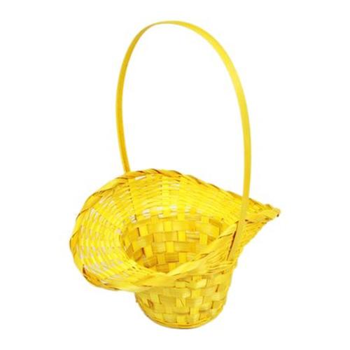 41295 Корзина плетеная бамбук d21/13xh14/29см шляпка желтая