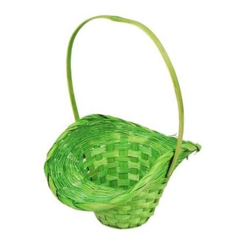 41297 Корзина плетеная бамбук d21/13xh14/29см шляпка зеленая