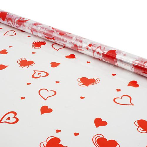 6049729 Пленка цветная Валентин 70см красно-белый