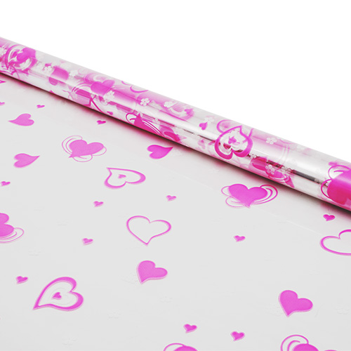 6049730 Пленка цветная Валентин 70см розово-белый